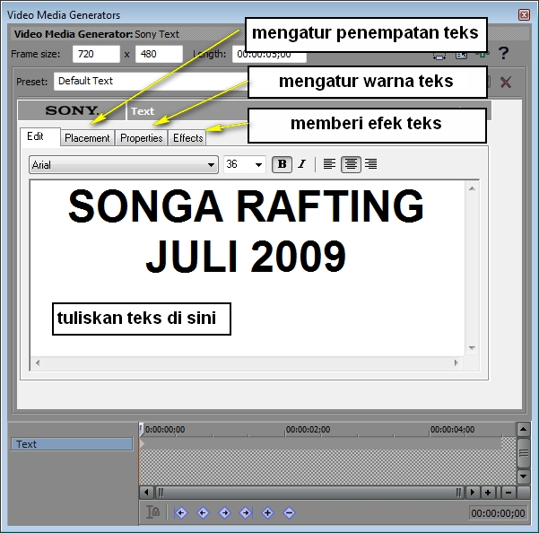 2 Tutorial video editing Sony Vegas 10 : Cara membuat dan mengatur teks (4)