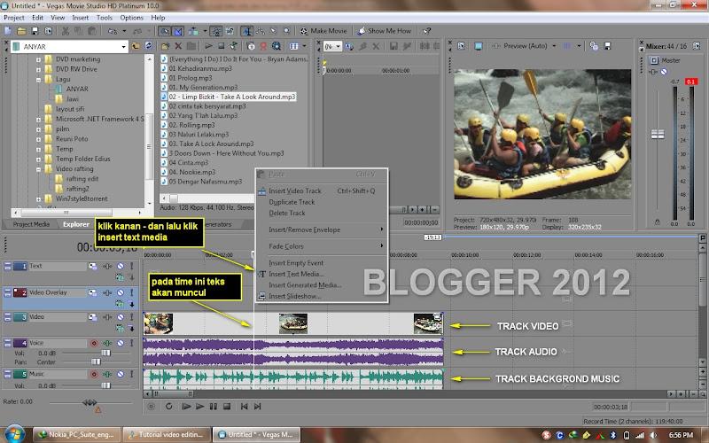 1 Tutorial video editing Sony Vegas 10 : Cara membuat dan mengatur teks (4)