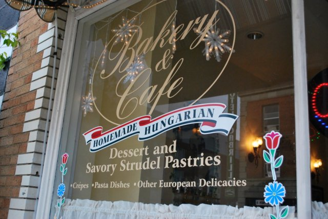 This is a photo of Mishi's Strudel Cafe store front window on the left.