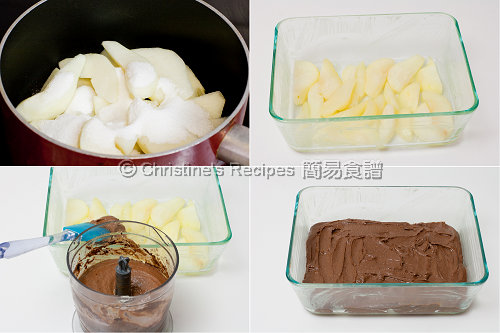 梨子朱古力布甸製作圖 Chocolate Pear Pudding Procedures