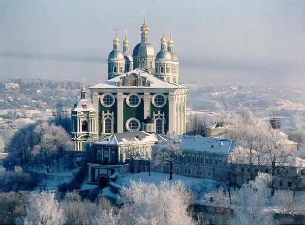 Russian traditional churche with domes in winter