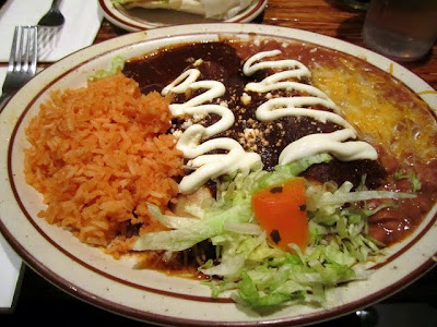 Mole enchiladas with tinga in brown mole sauce, Santeria, mexican