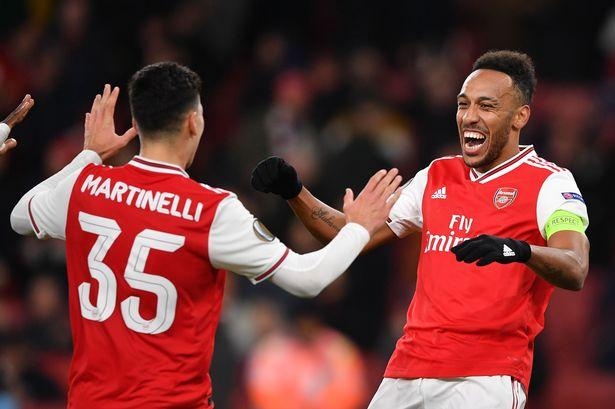 Image result for aubameyang and martinelli