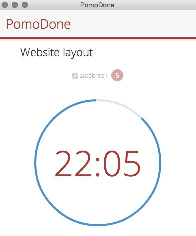 Pomodone app for time management screenshot of timer