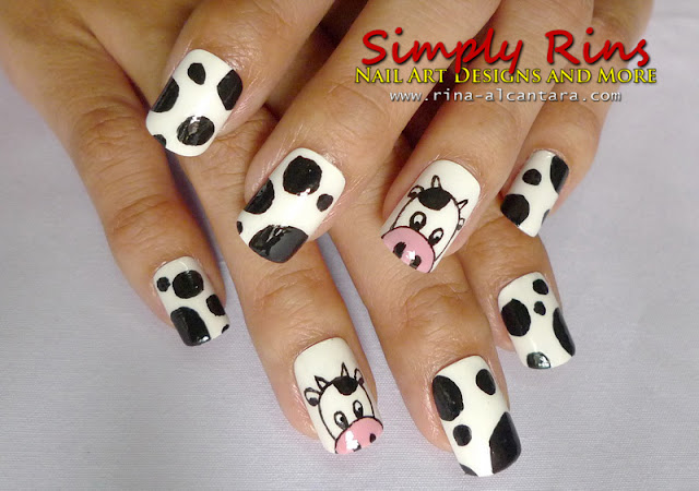 Cow nail art design