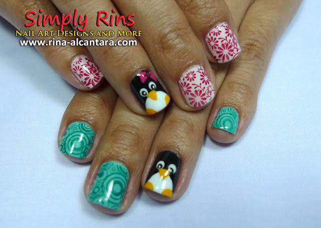 Penguin Nail Art Design by Simply Rins