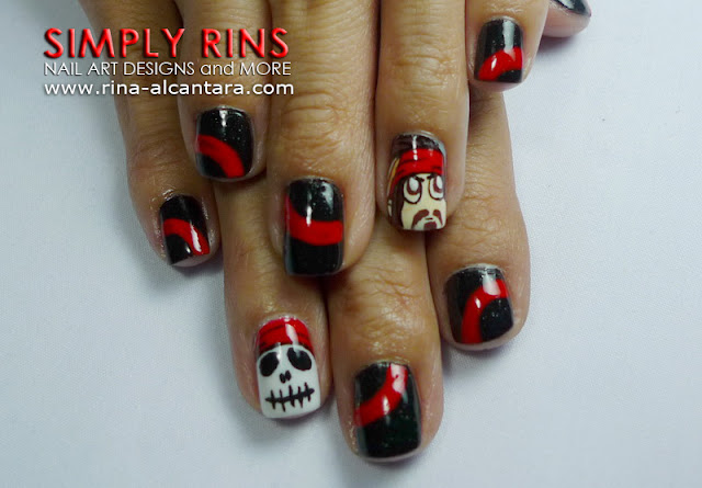 Pirates of the Caribbean nail art design by Simply Rins