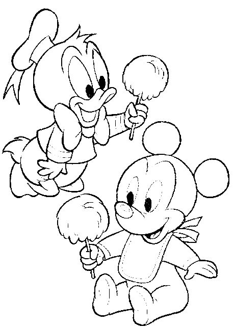 Pinto Dibujos: Baby Mickey Mouse y baby pato donald
