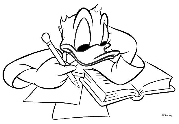Donald Duck Studing coloring pages | Coloring Pages
