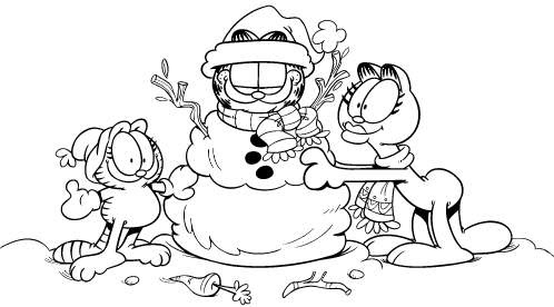 Garfield in snow free coloring