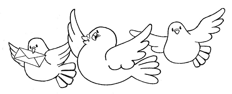 pinto dibujos  palomas mensajeras para colorear