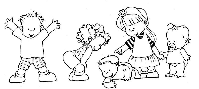 Dibujos Para Colorear De Ninos Jugando En La Escuela