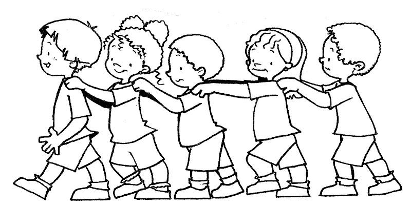 Pinto Dibujos: Niños en fila para colorear