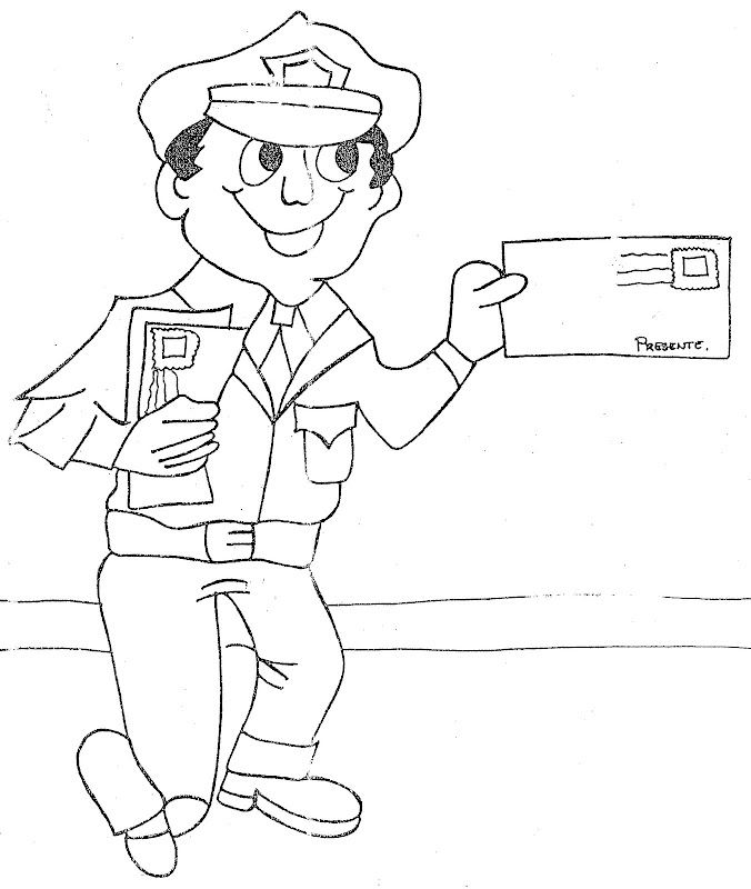 Preschool Mailman With Valentine Coloring Page