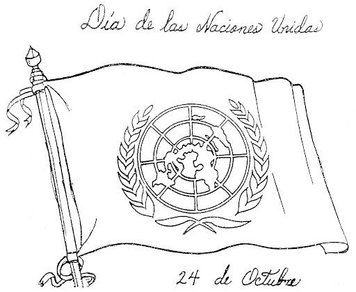 Pinto Dibujos: Bandera De La ONU Para Colorear