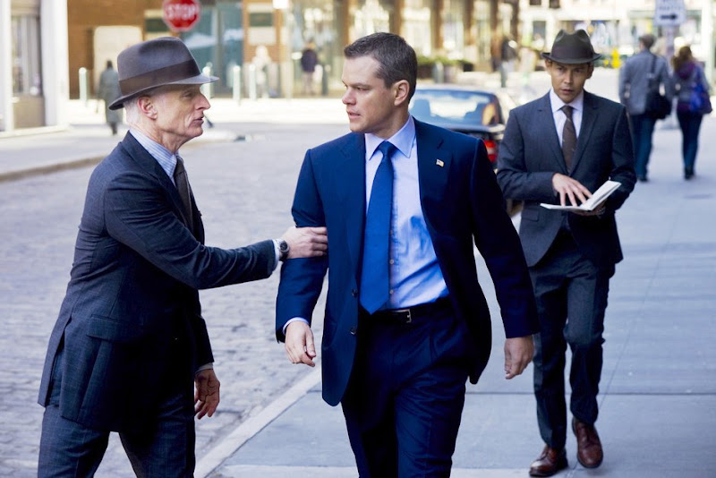 John Slattery and Matt Damon THE ADJUSTMENT BUREAU