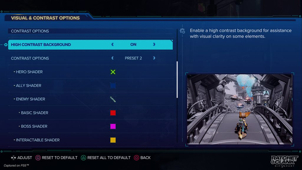 Contrast Options menu showing a variety of options including High Contrast Background. Shaders can be set with Presets or customized.