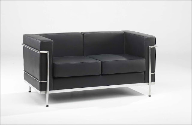 two seating black leather office sofa