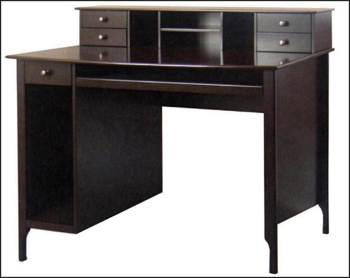 black computer writing desk with hutch