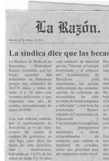 La síndica dice que las becas comedor en Barcelona son suficientes.