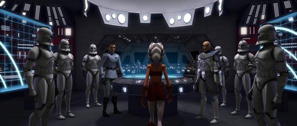 Ahsoka comandando um grupo de clones.