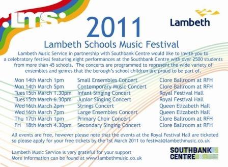 Lambeth Schools Music Festival flyer on Vassall View