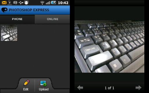 เปิดรูปแต่งภาพจาก Photoshop express โดยการถ่ายรูป