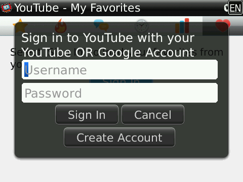 Player For YouTube สำหรับ Blackberry