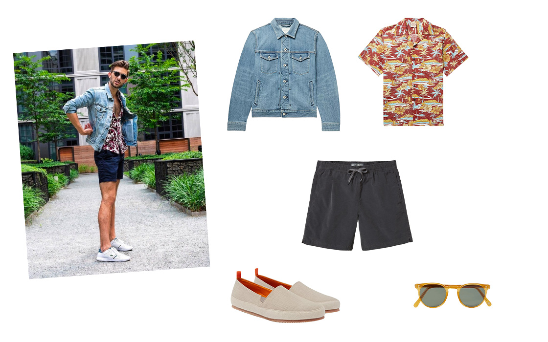 Denim jacket outfit worn with shorts