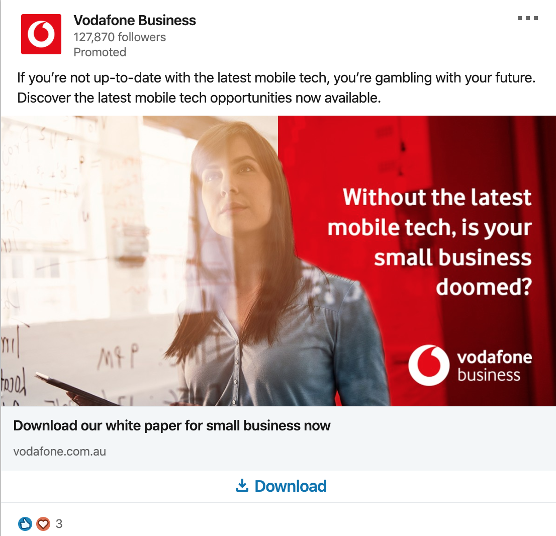 Vodafone's post for LinkedIn business development