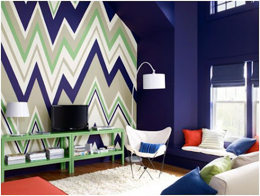 Decorar el salon con un zig-zag en la pared