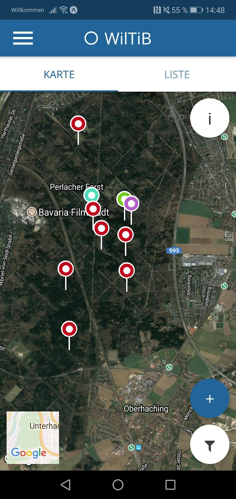 Map zur Übersicht von Meldungen