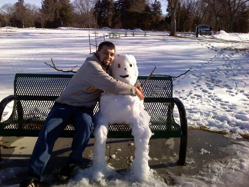 A snowman and I. We were friends. He melted (my heart).