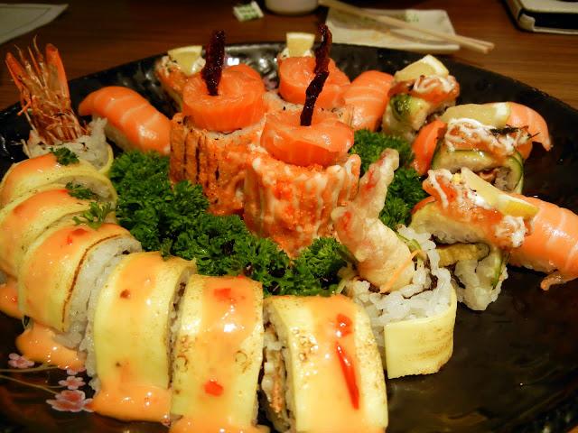 salmon sushi and maki platter