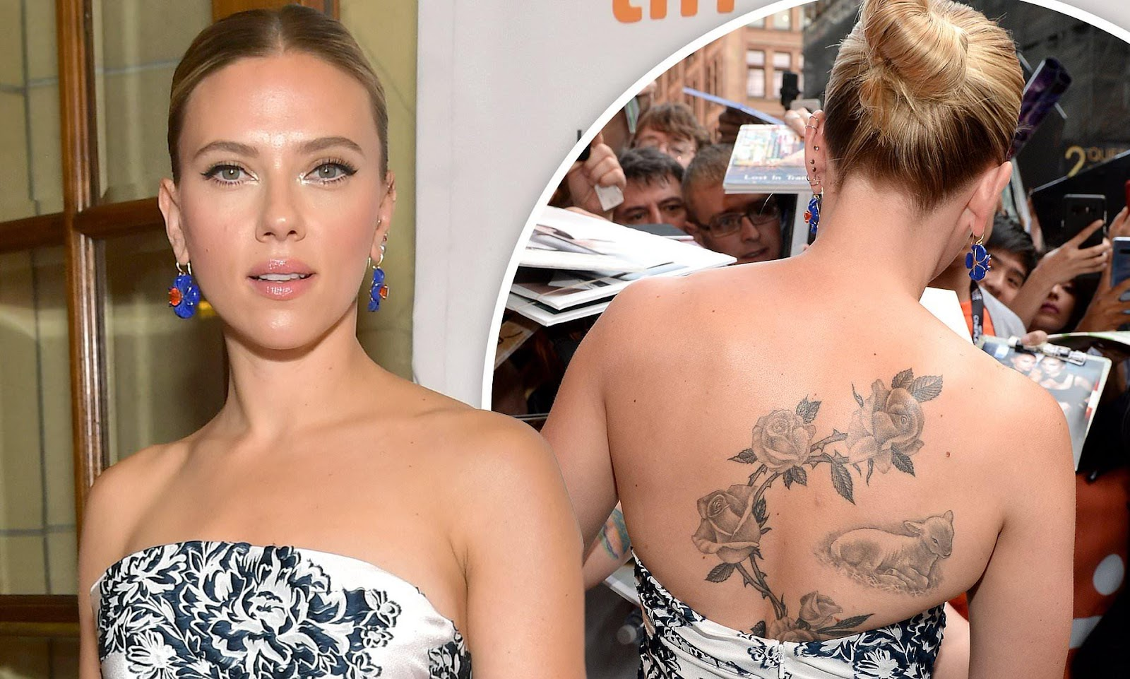Scarlett Johansson shows intricate back tattoos in strapless dress ...