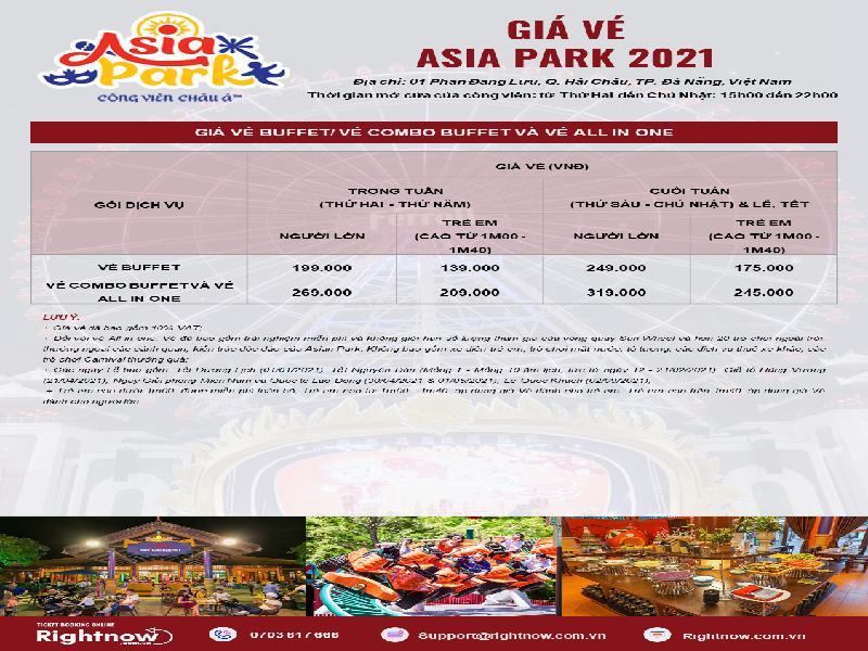 Bảng giá vé Buffet mới nhất tại Asia Park 2021