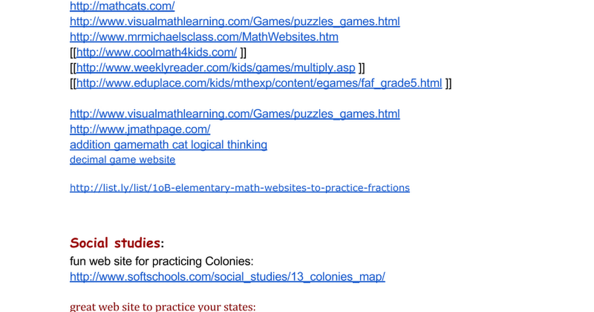 Websites and Learning Games - Google Docs