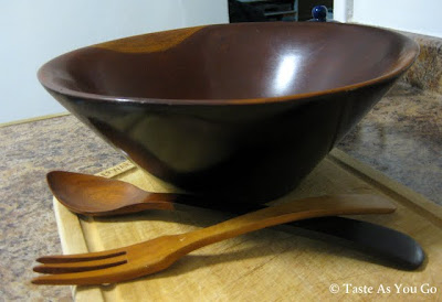 Wooden Serving Bowl and Serving Utensils - Photo by Taste As You Go