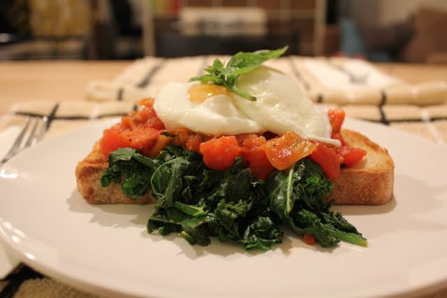 Eggs on Toast with Kale and Tomato Sauce - Photo Courtesy of Robyn Youkilis