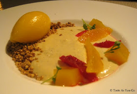 Vanilla Custard with Citrus Fruits, Brown Sugar Oats and Mandarin Sorbet at Maze at The London NYC by Gordon Ramsay in New York, NY - Photo by Taste As You Go