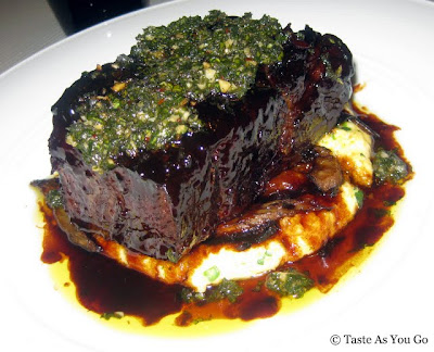 Prime Shortrib with Manchego Polenta and Chimichurri at New York Central in New York, NY - Photo by Taste As You Go