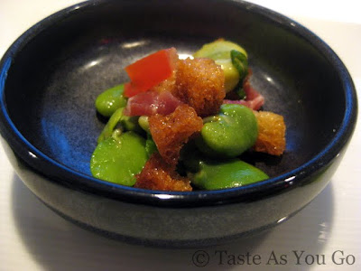 Fava Beans with Pecorino and Prosciutto at Fives at The Peninsula New York in New York, NY - Photo by Taste As You Go