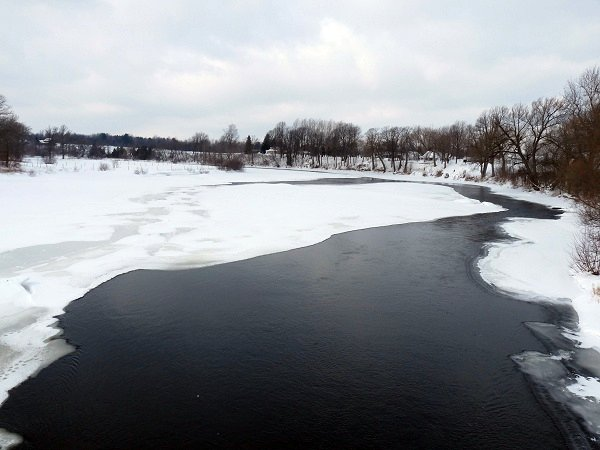 looking upriver from Bucks Bridge - Grasse River, Feb 12, 2011