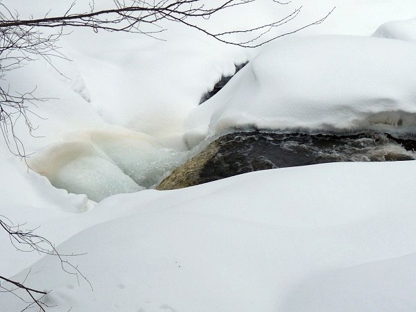 Stone Valley waterfall in winter