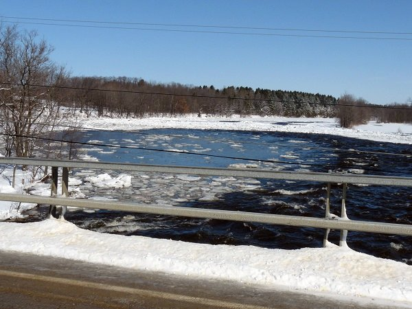 ice jam at chase mills, grasse river, mar 8, 2011