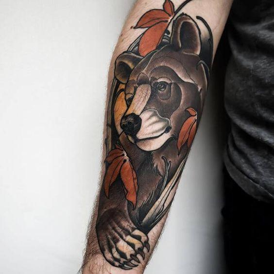5. ลายสักหมี บริเวณแขน