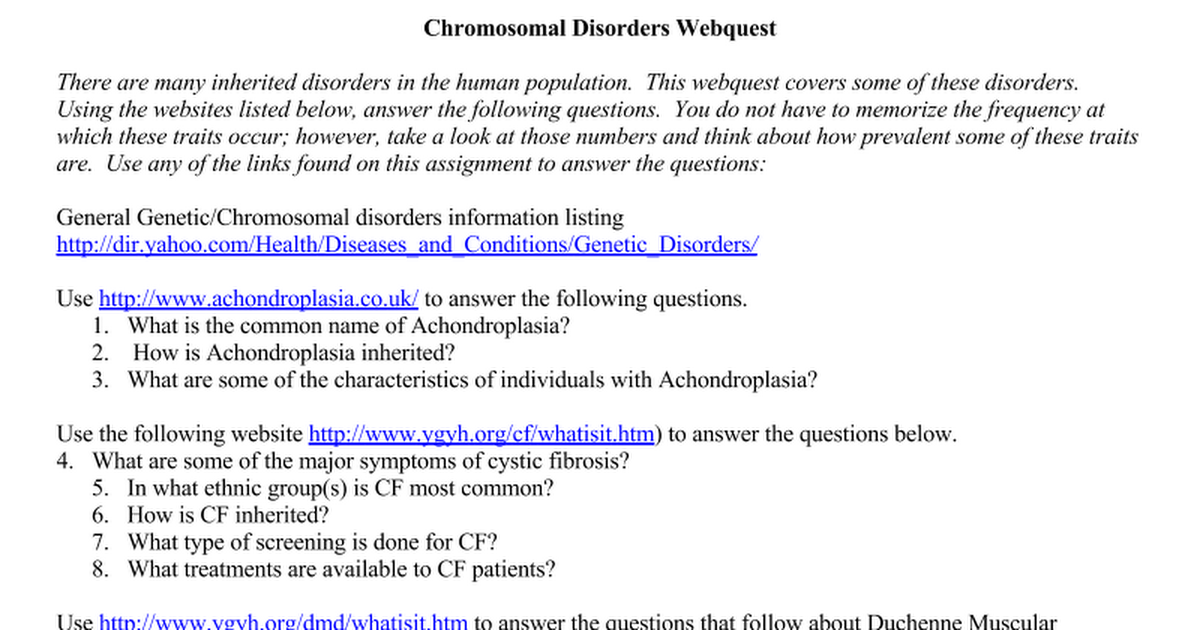 Chromosomaldisorderwebquest Google Docs – Genetic Disorders Worksheet