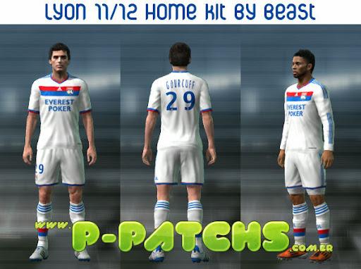 Lyon 11-12 Home Kit para PES 2011 PES 2011 download P-Patchs