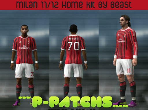 Milan 11-12 Home Kit para PES 2011 PES 2011 download P-Patchs