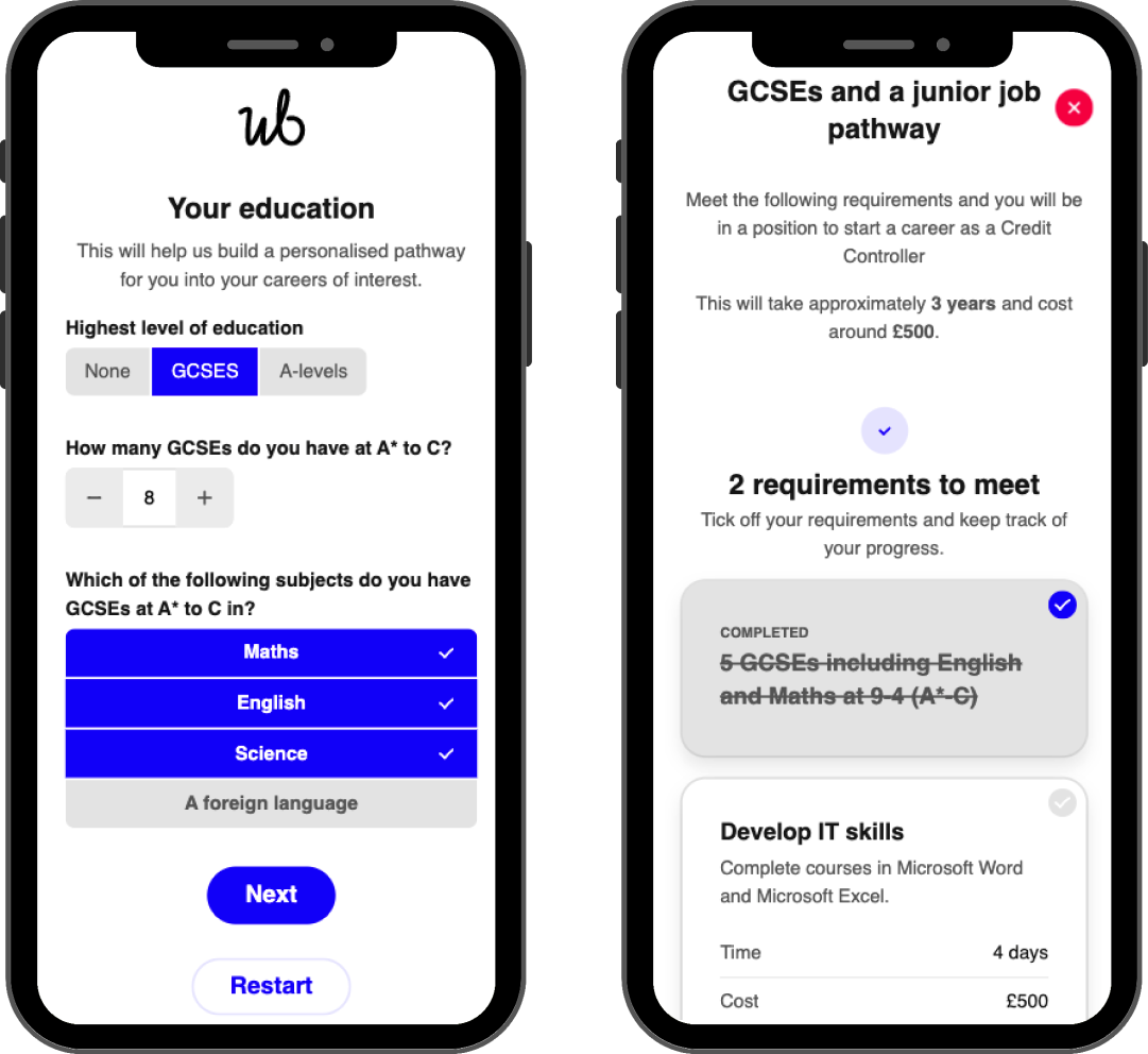 Screenshots showing how education inputed by the user pre-ticks qualifications in our new Pathways feature